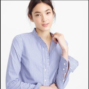 J Crew ruffle button blouse top long sleeve 00
